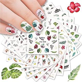 Kalolary Nagel Stickers, 29 Stks Watermark Slider Art Stickers, Bloem en Vlinder Decoratie Manicure Decals