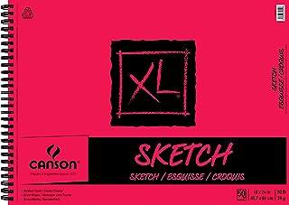 لوحة رسم ورقية من سلسلة XL من كانسون للفحم والأقلام والباستيل ورباط جانبي للأسلاك، 22.67 كجم، 18 × 24 بوصة، 50 ورقة