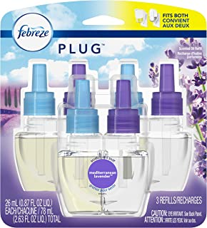 Febreze Plug in Air Freshener Scented Oil Refill, Mediterranean Lavender, 3 Count