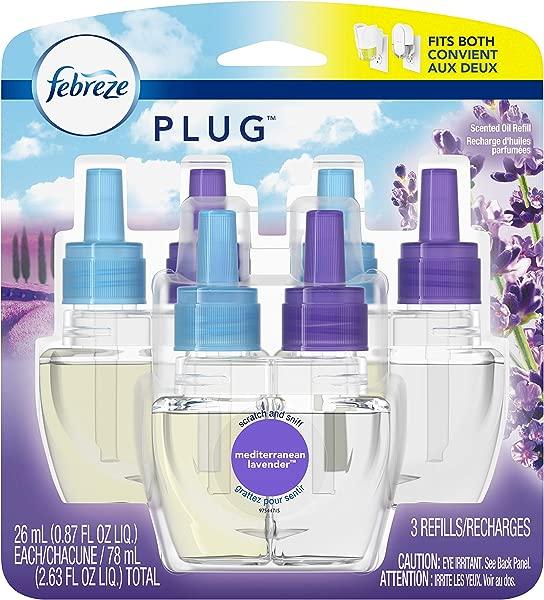 Febreze Plug In Air Freshener Scented Oil Refill Mediterranean Lavender 3 Count