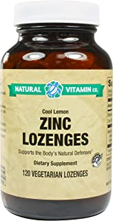 Natural Vitamin Co. - Zinc, Cool Lemon Flavor, Vitamin C 100mg, Zinc 23mg, 120 Lozenges, 4 Month Supply, Gluten Free, Vege...