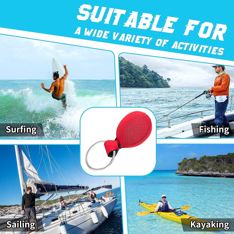 Surfing Canoeing and Outdoor Sports Sailing Pluzluce Floating Neoprene Keychain Fishing Swimming Float Buoy Boat Key Ring for Marine Boat Buoyant Sports Key Chains Kayaking