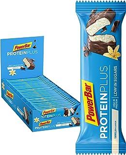 PowerBar Protein Plus Riegel mit nur 107 Kcal - Low Sugar Eiweissriegel, Fitnessriegel mit Ballaststoffen - Vanilla 30 x 35g