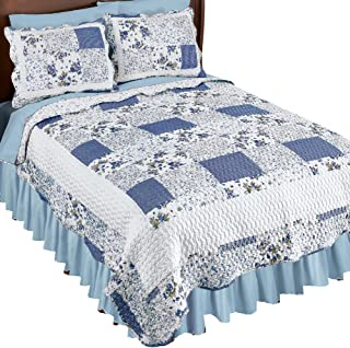 Collections Etc Hadley Floral Patchwork Reversible Lightweight Quilt, Blue, Full/Queen