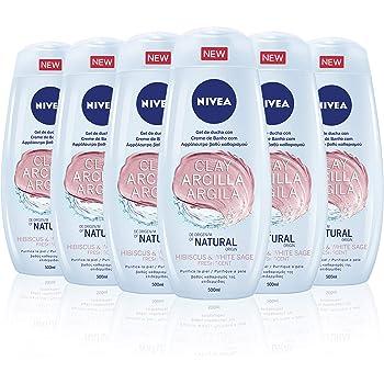 NIVEA Gel de Ducha con Arcilla Hibisco & Salvia blanca en pack de 6 (6 x 500 ml), gel de baño para una limpieza profunda de la piel, gel purificante y refrescante: