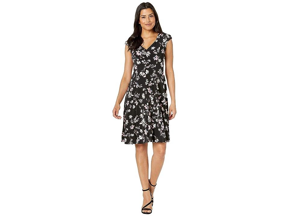 London Times V-Neck Dress w/ Cap Sleeveless (Black/Blush) Women