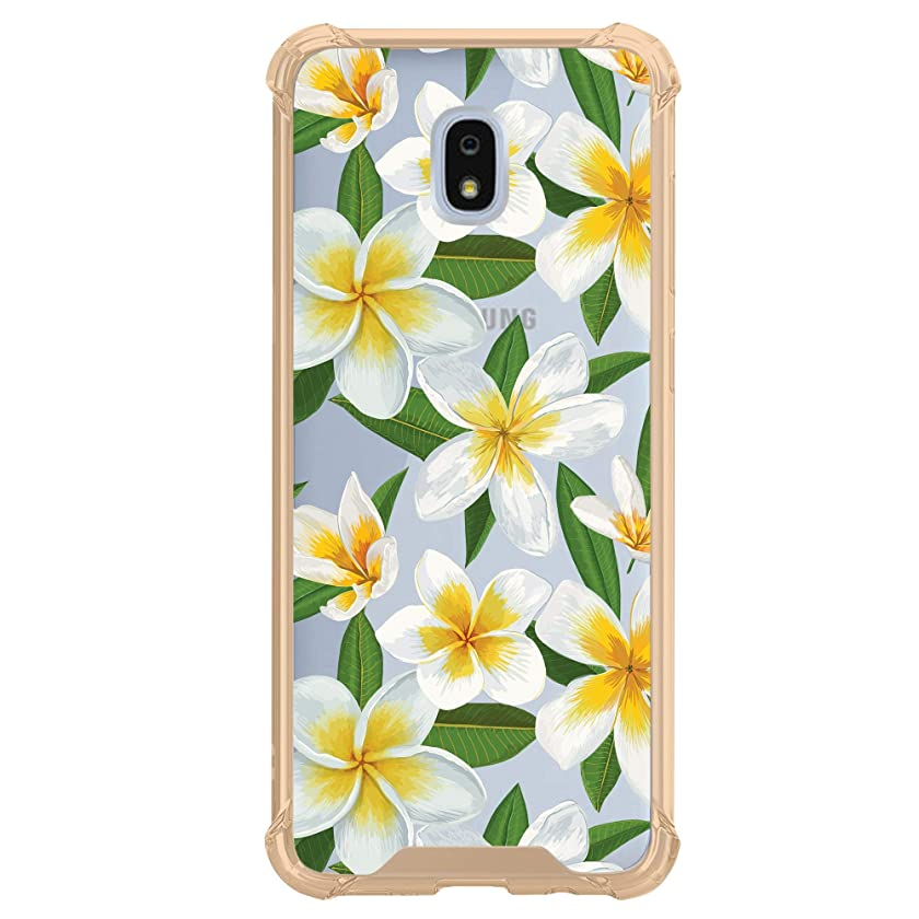Ultra Clear MINITURTLE Case Compatible with Galaxy J3 (2018), J3 Achieve, J3 Star, J3 Orbit, Sol 3, Express Prime 3, Amp Prime 3 [Floral Print Series] Slim & Yellow Bumper Case - Hawaiian Flowers