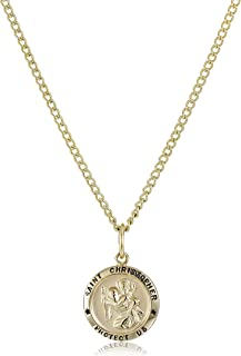 """14k Gold-Filled Small Round Saint Christopher Pendant Necklace with Gold Plated Stainless Steel Chain, 18"""""""