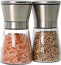 Bayso Pepper & Salt Grinder Set Spice Mill Set Stainless Steel Glass Adjustable Coarseness 2 Packs