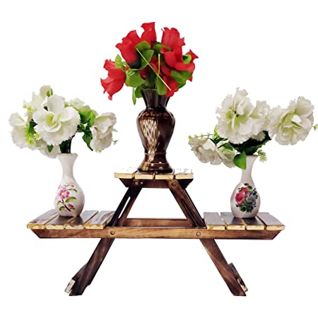 Vintage Wooden Multipurpose Folding Rack/Plant Stand with 3 Decks/Living Room Side Stand/Wooden Stool/Flower Pot Stand/Vase Stand Plant Stand for Garden and Outdoors