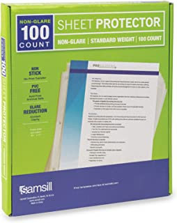 Samsill 100 Non-Glare Standard Weight Sheet Protectors, Reinforced 3 Hole Design Plastic Page Protectors, Archival Safe, Top Load for 8.5 x 11 Inch Sheets, Box of 100