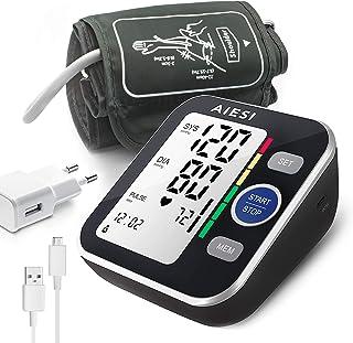 AIESI® Tensiómetro digital de brazo profesional automático para adultos A6 # Pilas # 120 memorias # Adaptador de red y USB # Garantía de 24 meses