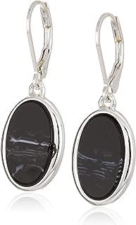 Nine West Women's Silver-Tone and Jet Drop Earrings, Size 0