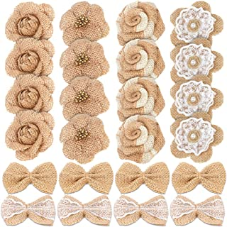 24PCS Handmade Natural Burlap Flowers, Include Burlap Rose Flowers, Burlap Lace Flowers with Pearls, Burlap Hibiscus Flowers, Burlap Bowknot, 6 Styles Vintage Burlap Rustic Flowers for DIY Craft