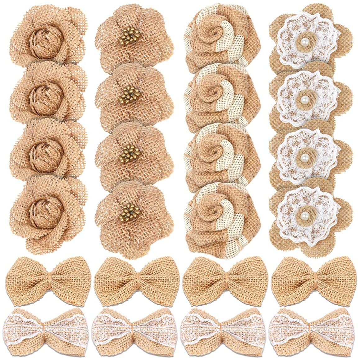 24PCS Handmade Natural Burlap Flowers, Include Burlap Rose Flowers, Burlap Lace Flowers with Pearls, Burlap Hibiscus Flowers, Burlap Bowknot, 6 Styles Vintage Burlap Rustic Flowers for DIY Craft