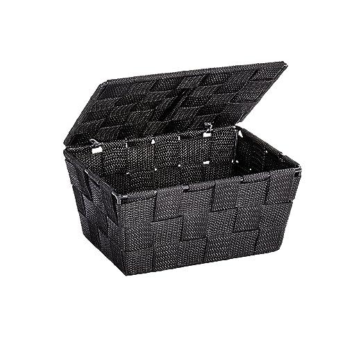 WENKO 22197100 Panier de Rangement avec Couvercle Adria Noir, Polypropylène, 19 x 10 x 14 cm