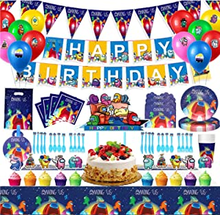 SFM 134PCS Among Us Party Supplies Birthday Party Decorations Set,Including Among Us Table cover, Tableware, Gift Bag, Bal...