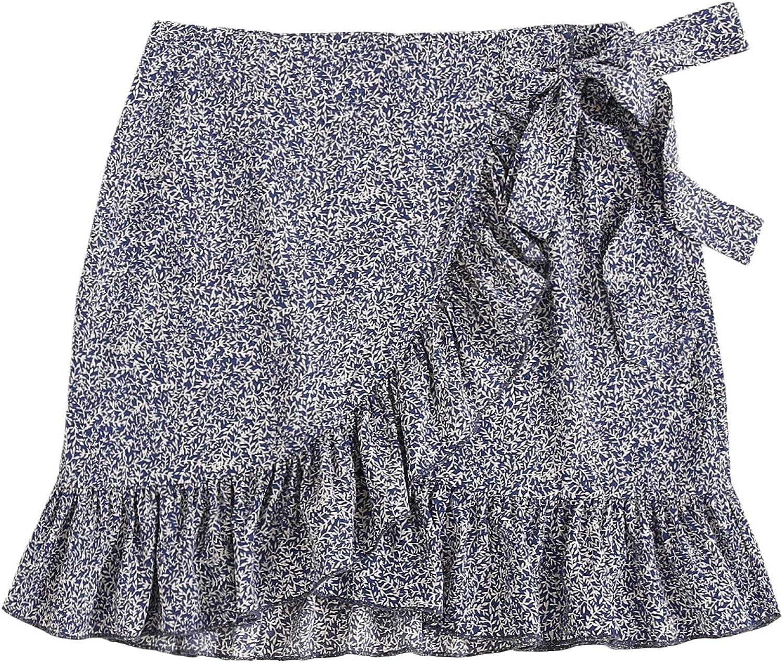 SheIn Women's Ruffle Wrap Boho High Waist Allover Print Tie Side Mini Skirt