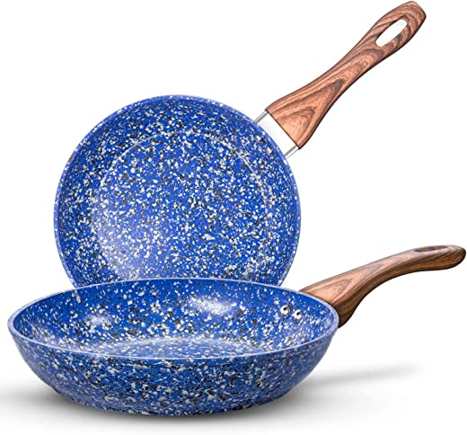 """MICHELANGELO Nonstick Frying Pans, Granite Frying Pans with Stone-Derived Coating, Stone Fry Pan Nonstick, Stone Skillets Nonstick, Nonstick Pan Set, Frying Pan Set, Induction Compatible, 9.5"""" & 11"""""""