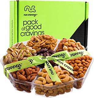 Gourmet Nut Gift Basket (Large 7 Section) - Healthy Food Arrangement Platter, Birthday Edible Care Package Tray - Fathers Day Snack Box for Dad, Husband, Men, Adults, Women, Wife - Prime Delivery