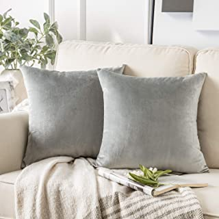 Phantoscope Pack of 2 Velvet Decorative Throw Pillow Covers Soft Solid Square Cushion Case for Couch Mist Grey 20 x 20 inches 50 x 50 cm