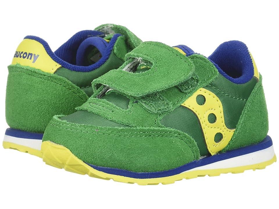 Saucony Kids Originals Jazz Hook Loop (Toddler/Little Kid) (Dark Green/Yellow) Boys Shoes