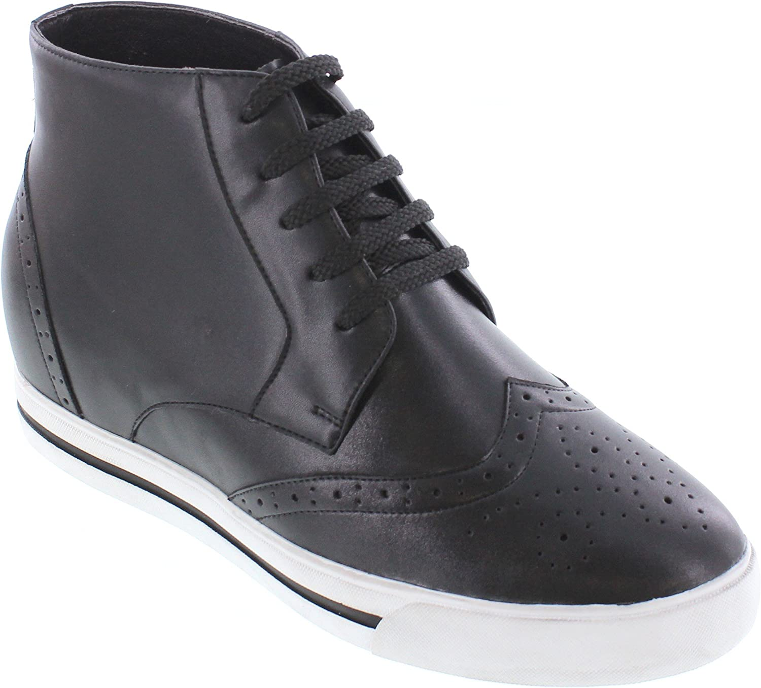 CALTO Men's Invisible Height Increasing Elevator shoes - Black Primium Leather Lace-up Wing-tip Fashion Sneakers - 3 Inches Taller - Y36081