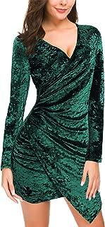 Women's Wrap V Neck Velvet Dress Long Sleeve A line Bodycon Slim Cocktail Party Dresses