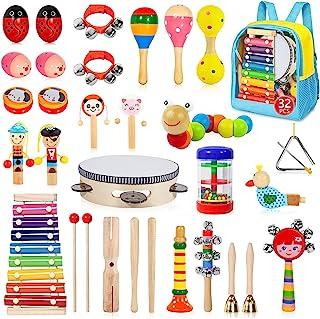 مجموعه آلات موسیقی Gouezcc Toddler، 32 PCS 19 انواع سازهای کوبه ای چوبی اسباب بازی برای کودکان بازی آموزش پیش دبستانی ، اسباب بازی های موسیقی کودک اولیه برای پسران و دختران هدیه
