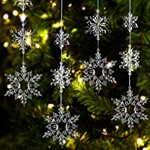 36 Pieces Plastic Crystal Snowflakes Ornaments Clear Acrylic Xmas Snowflakes for Christmas Winter DIY Decoration, Assorted...