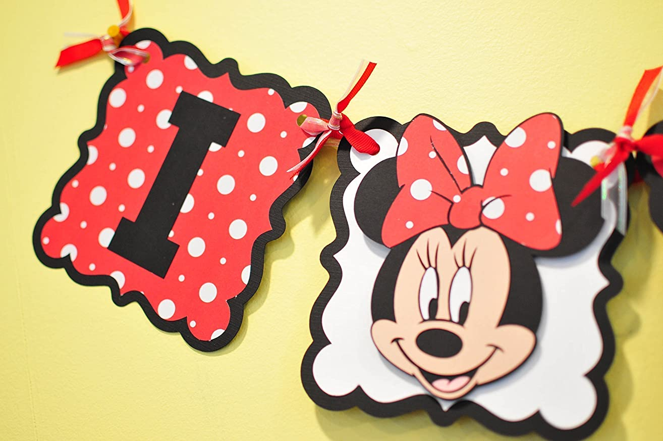 Minnie Mouse I am 1 banner. High Chair Banner Colors can be Customized