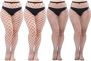 Aneco 4 Pairs Plus Size Fishnets Tights Sexy Black Fishnet Pantyhose Stockings Cross Mesh Tights Thigh High Stockings