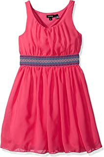 ZUNIE Girls' Sleeveless Chiffon Dress with Aztec Waistband
