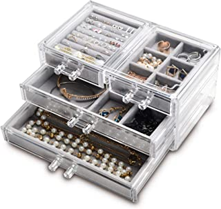 Acrylic Jewelry Box 4 Drawers,Clear Jewelry Organizer Velvet Rings Necklaces Earring Bracelets Display Case Stand Holder Tray for Women Girls (Gray)