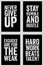 Damdekoli Motivational Posters, 11x17 Inches, Set of 4, Wall Art, Hustling, Entrepreneur Decoration, Inspirational Print Hustle