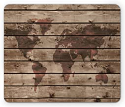 Lunarable Rustic World Map Mouse Pad, World Atlas Reflection on Horizontal Oak Trees with Lines Region Space Theme, Rectangle Non-Slip Rubber Mousepad, Standard Size, Brown