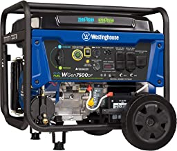 Westinghouse WGen7500DF Dual Fuel Portable Generator - 7500 Rated Watts & 9500 Peak Watts - Gas or Propane Powered - CARB Compliant (Renewed)