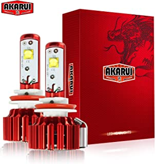 Akarui LED Headlight Bulbs Conversion Kit - Single Beam - CREE - 9,600 lumens - 55W - 6000K Cool White - 2-Year Warranty - Pair (H11 (H8/H9))