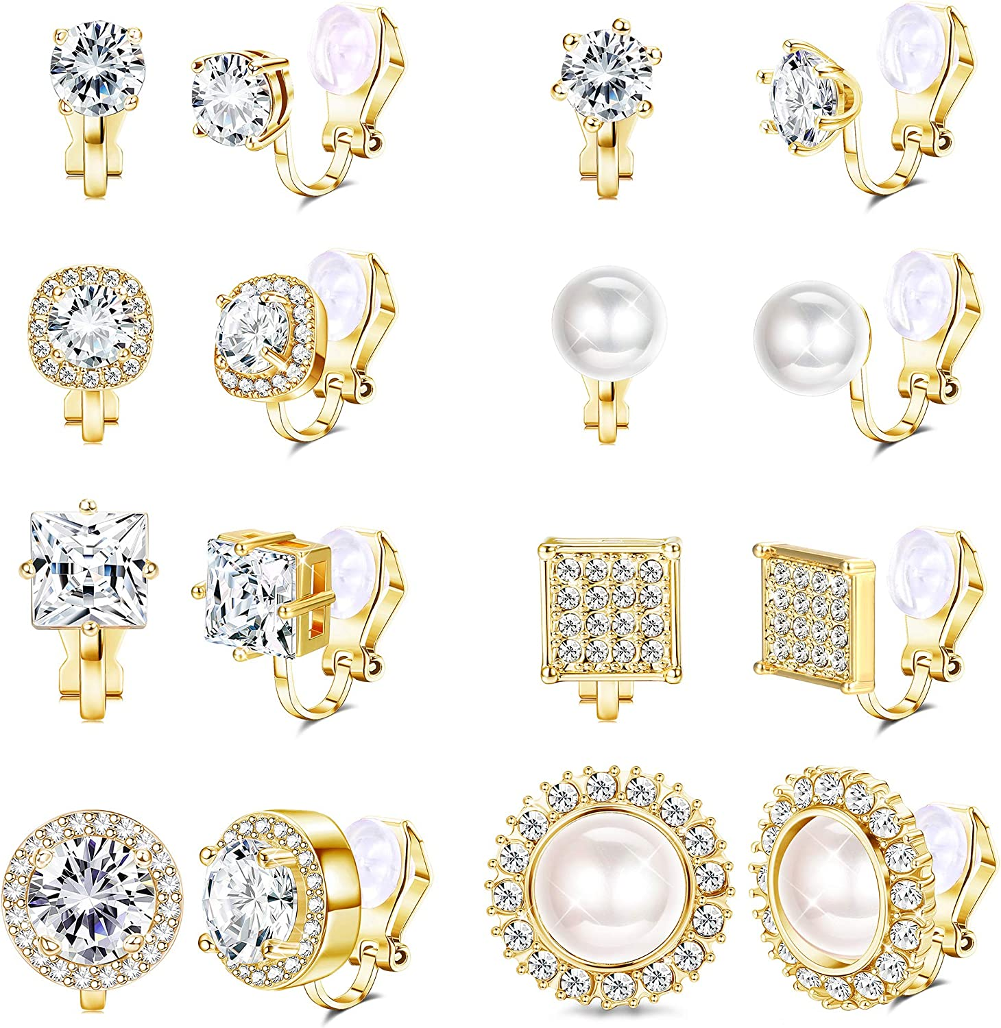 Thunaraz 8Pairs Cubic Zirconia Peal Clip On Stud Earrings For Women Simulated Diamond Halo Non Pierced Earring Womens Clip On Earrings Set for Anniversary