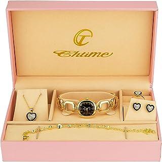 Caja de Regalo Reloj Mujer Negro - Juegos de Joyas- Collar-Anillo- Pendientes - Pulsera