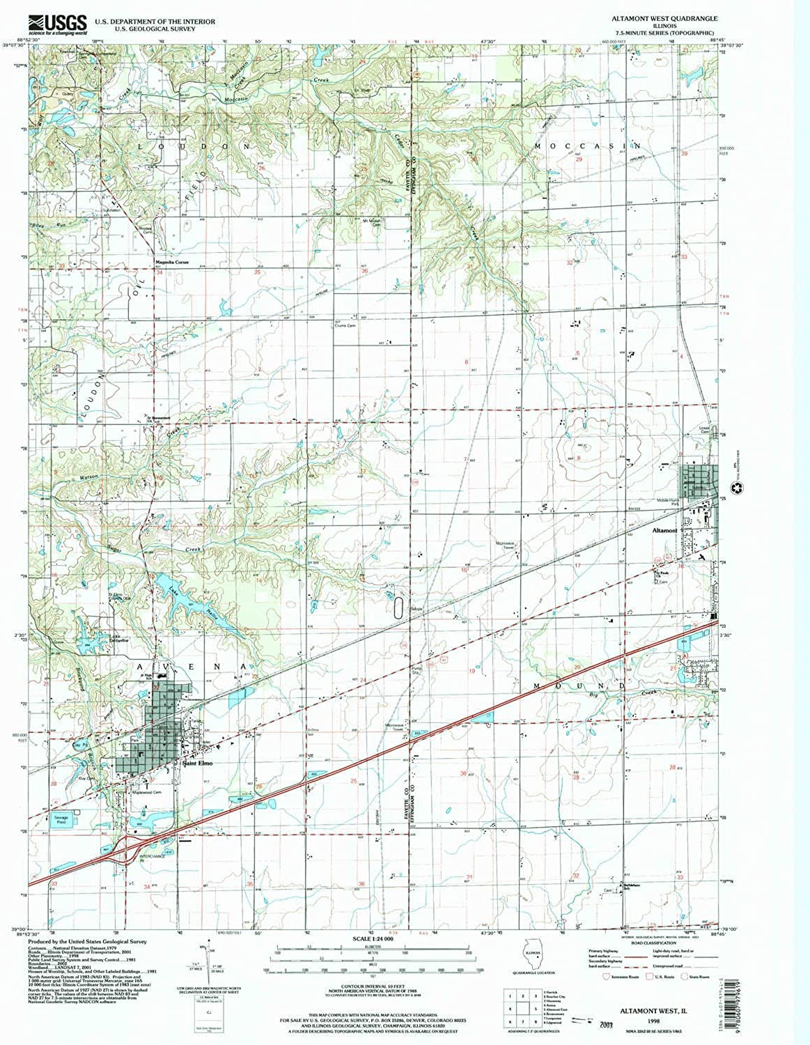 Altamont West IL topo map, 1 24000 Scale, 7.5 X 7.5 Historical, 1998 on