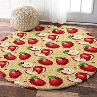 OneHoney Round Carpet Plush Area Rug Red Apples Green Leaf,Soft Shaggy Floor Mats Circular Furry Rugs Farm Fruit Harvest f...
