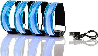 Actinetics Aufladbares LED Armband, Leuchtband für Joggen, Laufen – Sicherheitslicht, Reflektor und Blinklicht für Kinder – Blinkende und statische LED-Funktionen, USB aufladbar 4 Stück