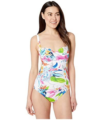 La Blanca Hyper Tropical Over the Shoulder Sweetheart Mio One-Piece Swimsuit (White) Women