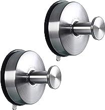 JOMOLA Suction Cup Hooks Suction Shower Hook Bathroom Towel Hanger for Shower Storage Kitchen Utensil Stainless Steel, Bru...