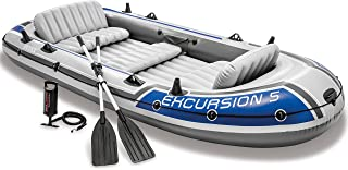 Intex Excursion 5, 5-Person Inflatable Boat Set with Aluminum Oars and High Output Air Pump (Latest Model), White, 144