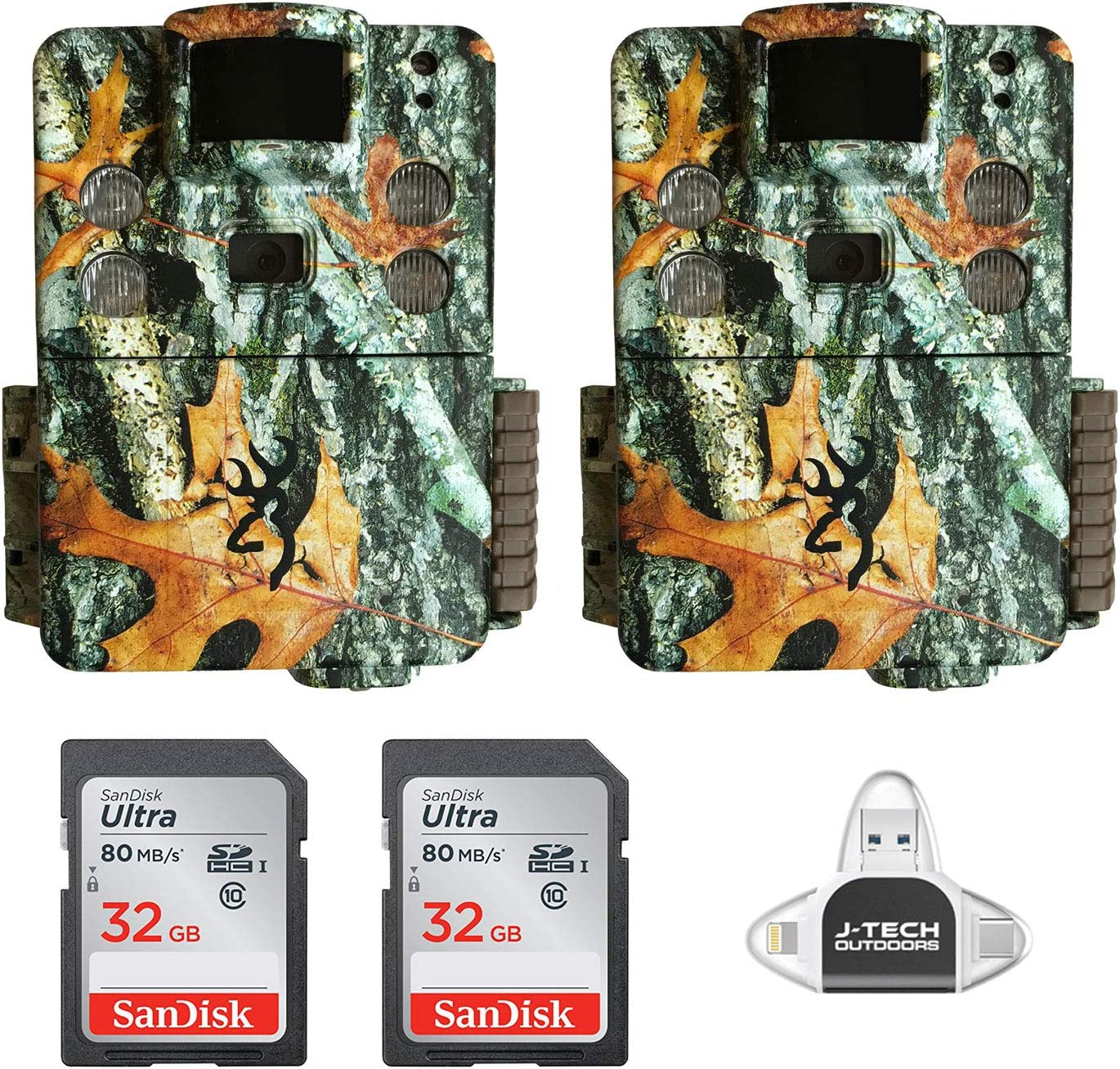 (2) Browning Strike Force HD PRO X Trail Game Cameras (20MP) with 32GB Memory Cards and J-TECH iPhone/iPad/Android USB Memory Card Reader | BTC5HDPX
