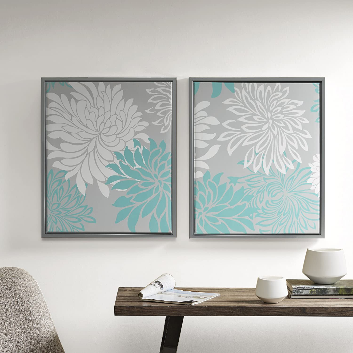 Comfort Spaces Enya Wall Art - Canvas with Silver Frame Painting Floral Modern Home Decor - 2 Piece Set Artwork, 20'' x 24'', bluee, 2 Each