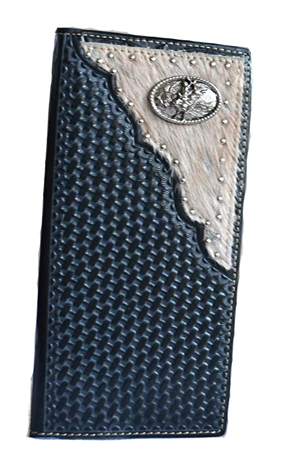 men genuine leather bull rider concho long bifold fur wallet