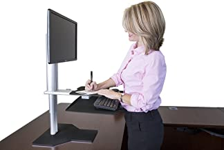 Uprite Ergo Sit2Stand Desktop Height Adjustable Workstation - Single Monitor - Silver/Black